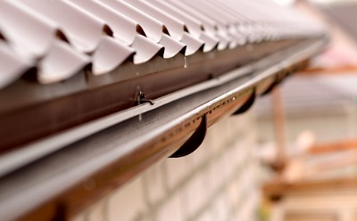 Closeup of gutters with Gutter Guards in Peoria IL